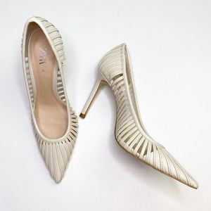 ZARA Off White Caged Pointed Toe High Heels 39/9